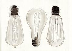 Vintage Edison Filament Bulb Lightbulb Pencil Illustration A4 Print