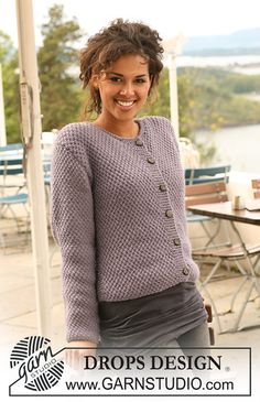 "Pearls in Provence / DROPS - Free knitting patterns by DROPS Design DROPS jacket knitted in pearl pattern in ""Nepal"". ~ DROPS design Always aspired to figure out how to knit, however unsur. Knit Cardigan Pattern, Vest Pattern, Sweater Knitting Patterns, Knitting Stitches, Knitting Designs, Knit Patterns, Free Knitting, Free Pattern, Drops Design"