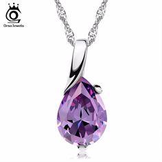 Orsa jewels nuovo disegno amethyst del pendente della collana su 3 strati platino placcato viola zircone pendente per le donne monili di modo on39