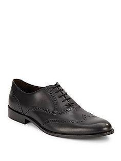 Bruno Magli Leather Wingtip Oxfords - Black - Size