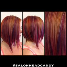 Absolutely gorgeous multi-dimensional color! Bright red base with purple, red, and orange copper highlights throughout. Textured razor cut bob with asymmetry and longer pieces in the front!