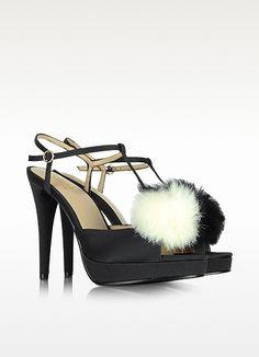 Moschino Love Moschino - Black Satin Sandal with Fur szugabejb pom pom szus
