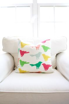 Ruffled Feathers Pillow Cover Birds Canary by WhiteHavenDesigns #etsy #homedesign #home #pillow #decoration #bedroom #livingroom #kids #nursery #handmade #babyroom #colorful #smallbusiness