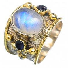 925 SOLID STERLING FINE SILVER Rainbow Moonstone, Tanzanite Rings