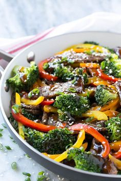 This recipe for teriyaki beef stir fry is tender slices of beef sauteed with a variety of colorful vegetables, all coated in a quick and easy homemade teriyaki sauce.