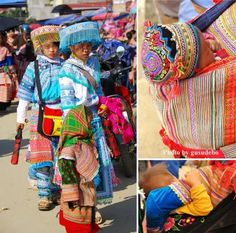 "Hmong people are often referred to as ""flower Hmong"" for their vivid pa ndau embroidery, meaning ""flower cloth."""