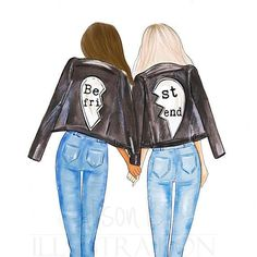 Best friends personalized wall art multi cultural friends fashion illustration print gift for sister twin roommate add name to the print Drei beste freunde Best Friend Pictures, Bff Pictures, Best Friend Quotes, Bff Pics, Friends Mode, Drawings Of Friends, Cute Best Friend Drawings, Best Friend Sketches, Easy People Drawings