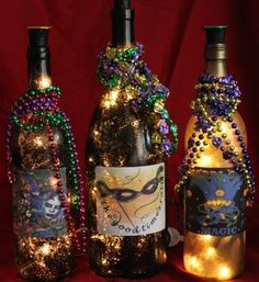 Mardi Gras Wine Bottle Accent Lights