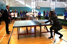 Prince William and Kate playing table tennis in Scotland 2013.    David Cheskin/WPA Pool/Press Association Images