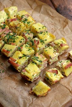 Potato and ham tortilla tapas bites