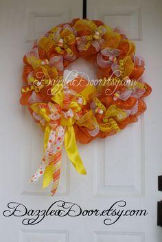 candy corn deco mesh wreath halloween wreath candy corn halloween wreath pinned by - Halloween Candy Wreath