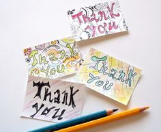 Handmade Thank you Mini Cards  Set of 4 by valeriatelier on Etsy, $4.50