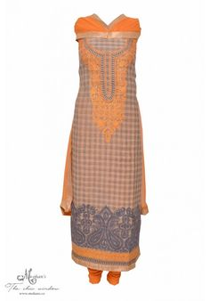 Pretty grey and daffodil yellow chequered suit adorn in aari work on neckline