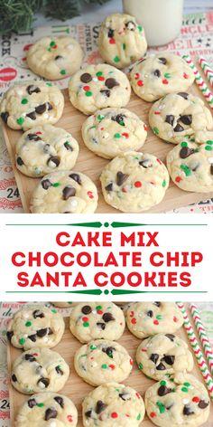 Santa Cookie Recipe, Santa Cookies, Xmas Cookies, Santa Cake, Sugar Cookies, Cute Christmas Cookies, Cookies With Cake Mix, Christmas Cupcakes, Baby Cookies