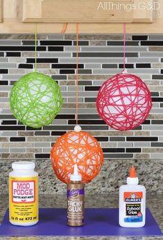 how to make yarn ball ornaments, christmas decorations, seasonal holiday decor