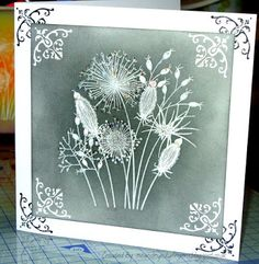 Not Just Cards at the Crafty Patch: Going to Seed? with Woodware. Stamped and embossed in white powder then added Black Soot to colour the background. Card Making Inspiration, Making Ideas, Sympathy Cards, Greeting Cards, Make Your Own Card, Handmade Birthday Cards, Handmade Cards, Card Making Techniques, Card Maker
