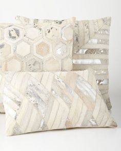 -6VYH Silver Cowhide Pillows