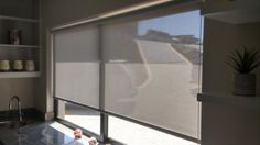 Sheer Weave Roller Blinds - white/grey with stainless steel chain