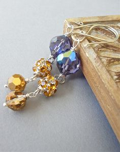 "The lovely ""Pansy"" earrings, created with vintage and modern crystals and sterling silver."