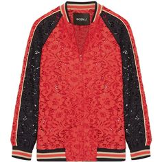 Goen JCotton-blend Corded Lace Bomber Jacket (842 AUD) ❤ liked on Polyvore featuring outerwear, jackets, red, lace bomber jacket, red bomber jacket, red lace jacket, cord jacket and red flight jacket