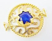 Royal Blue Jade Stone Fretworked Circle Connector Pendant - 22k Matte Gold Plated - 1PC http://www.etsy.com/listing/158727970/royal-blue-jade-stone-fretworked-circle?ref=teams_post