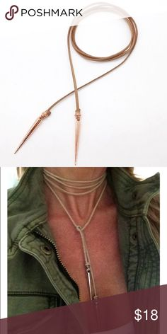 🔥 Brown leather wrap necklace with spike ends Available with rose gold color spike ends and silver color spike ends Jewelry Necklaces