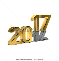New Year Golden 2017 Over Weared 16 Number. Concept of The Year is ending, Coming the New Year