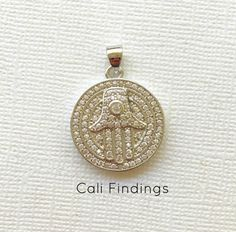 Large Rhodium Plated Evil Eye Cz Pave Pendant Eye by CaliFindings