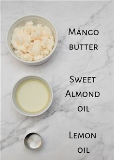 ingredients for DIY body butter recipe : mango butter, sweet almond oil and lemon essential oil Homemade Body Butter, Whipped Body Butter, Homemade Skin Care, Homemade Beauty Products, Makeup Products, Body Products, Natural Products, Homemade Scrub, Facial Products