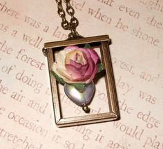Rose Frame Necklace Heart and Flower Pendant by flonightingales, £13.00