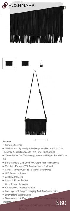 H Butler Fringe Purse This is in brand new condition. It was a gift for graduate who used a few times then decided they were Vegan- no leather bags anymore! It's beautiful black suede and comes with battery pack for charging phone. See additional pics for all details and measurements. Strap is adjustable for crossbody or shoulder wear. H Butler Bags Crossbody Bags