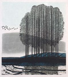 "Shi Yi (born Chinese) ""A Morning Song"" woodcut 1997 edition of 300 x Very reminiscent of one of my favorite printmakers' works, that of Antonio Frasconi. Japanese Prints, Japanese Art, Landscape Art, Landscape Paintings, Illustration Art, Illustrations, Landscape Illustration, Art Graphique, Wood Engraving"