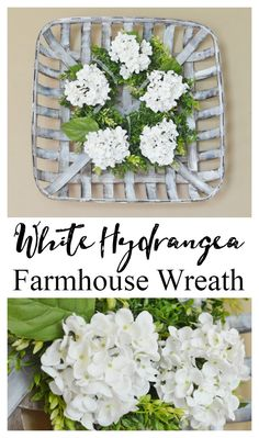 White Hydrangea Farmhouse Wreath – Cottage at the Crossroads - Wreath Ideen Farmhouse Style, Farmhouse Decor, Farmhouse Furniture, Country Decor, Etsy Wreaths, Tobacco Basket, Diy Home Decor Projects, House Projects, Craft Projects