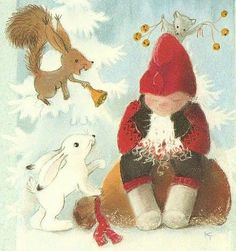 ˇˇ Vintage Christmas, Christmas Cards, Merry Christmas, Scandinavian Kids, Elves And Fairies, Funny Drawings, Christmas Pictures, Gnomes, Finland