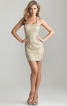 Night Moves By Allure 2013 Nude Striped Sequin Short dress... FUN!