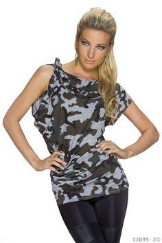 Camouflage Shirt Top Trägertop TankTop Bluse Longtop Longshirt Talliert 36/38