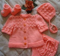 Baby Knitting Patterns Cardigan Nice Baby Set in Pink / White by RenisDesignermodelle on Etsy Kids Knitting Patterns, Knitting For Kids, Knitting Designs, Baby Patterns, Hand Knitting, Vintage Knitting, Knit Baby Sweaters, Knitted Baby Clothes, Gilet Crochet