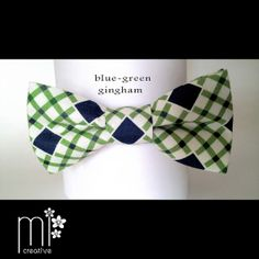 Pretied Men's and Boy's Bow Tie  Blue & Green by MICreativeDesign, $22.00