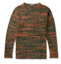 OUR LEGACY BOUCLÉ-KNIT SWEATER - GREEN. #ourlegacy #cloth Our Legacy, Warm Outfits, Green Sweater, Sweater Weather, Red Green, Fashion News, Wool Blend, Knitwear, Knitting
