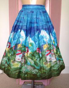 1950's border print skirt courtesy of Grey Hound Vintage.