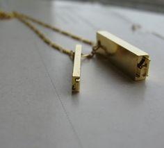 gold letterpress necklace