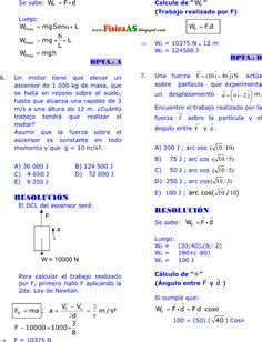 FISICA PROBLEMAS RESUELTOS: TRABAJO - POTENCIA Y ENERGÍA MECÁNICA EJERCICIOS DESARROLLADOS IMPRIMIR GRATIS Physics, Formulas, Kinetic Energy, Activities, Free Printable, Spanish, Math, Physics Humor, Physique