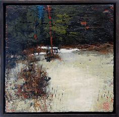 """Northern April 12""""x 12"""" encaustic and oil on panel"""