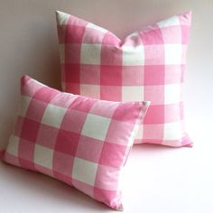 This listing is for one Strawberries and Cream Buffalo Check Pink Plaid Zipper Pillow cover. Gorgeous woven fabric (see close up)! Colors include 3