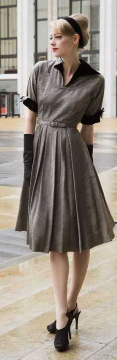 Grey Vintage Midi Dress