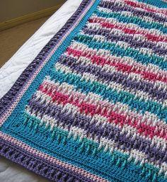 Bright Textures Blanket by Bernat Design Studio. Free pattern.