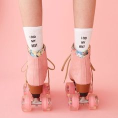 STYLE: i did my best did you do your best at the time with the resources you had? then kiss that whole self-doubt thing goodbye. wear these custom socks by working girls with our favorite mantra retro kitsch advertising photo art , roller skates and Pink Lady, Pink Girl, Pink Tumblr, Tout Rose, Foto Fashion, Pink Fashion, 40s Fashion, Fashion Top, Winter Fashion