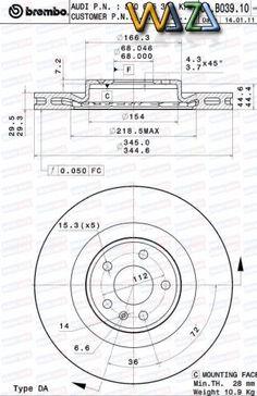 Pret 360 RON - De vanzare disc frana pentru autoturisme Audi, producator BREMBO. Livrare rapida in orasele Galati si Braila Caracteristici: Diametru (mm):320 Înălţime (m...