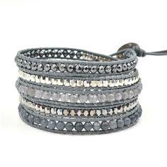 Grey Adjustable Mix Five Wrap Bracelet WRBR