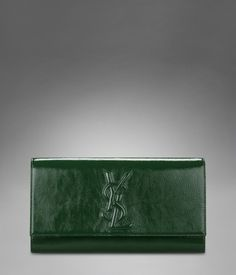 Large YSL Clutch in Dark Green Patent Leather- very me!